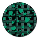 Green love Round Mousepads
