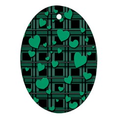 Green love Ornament (Oval)  from ArtsNow.com Front