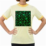 Green love Women s Fitted Ringer T-Shirts