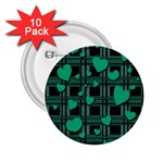 Green love 2.25  Buttons (10 pack)
