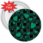 Green love 3  Buttons (10 pack)