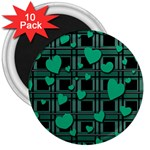 Green love 3  Magnets (10 pack)