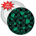Green love 3  Buttons (100 pack)