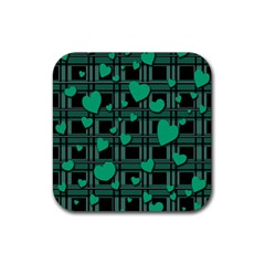 Green love Rubber Square Coaster (4 pack)  from ArtsNow.com Front