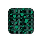 Green love Rubber Square Coaster (4 pack)