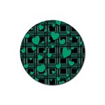 Green love Rubber Round Coaster (4 pack)
