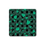 Green love Square Magnet