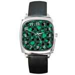 Green love Square Metal Watch