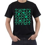 Green love Men s T-Shirt (Black) (Two Sided)