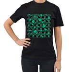 Green love Women s T-Shirt (Black) (Two Sided)