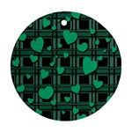 Green love Round Ornament (Two Sides)