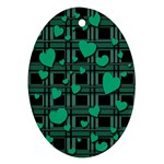 Green love Oval Ornament (Two Sides)