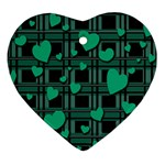 Green love Heart Ornament (2 Sides)