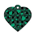 Green love Dog Tag Heart (One Side)