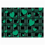 Green love Large Glasses Cloth