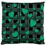 Green love Large Cushion Case (Two Sides)