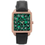Green love Rose Gold Leather Watch
