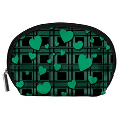 Green love Accessory Pouches (Large)  from ArtsNow.com Front