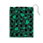 Green love Drawstring Pouches (Large)