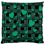 Green love Large Flano Cushion Case (One Side)