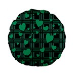 Green love Standard 15  Premium Flano Round Cushions from ArtsNow.com Back