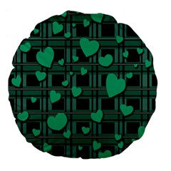 Green love Large 18  Premium Flano Round Cushions from ArtsNow.com Front