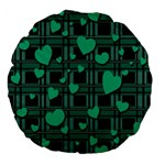 Green love Large 18  Premium Flano Round Cushions from ArtsNow.com Back
