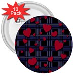 Decorative love 3  Buttons (10 pack)