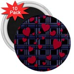 Decorative love 3  Magnets (10 pack)