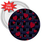 Decorative love 3  Buttons (100 pack)
