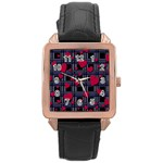 Decorative love Rose Gold Leather Watch