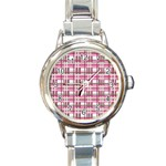 Pink plaid pattern Round Italian Charm Watch