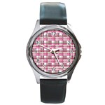 Pink plaid pattern Round Metal Watch