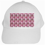 Pink plaid pattern White Cap