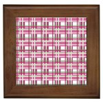 Pink plaid pattern Framed Tiles