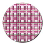 Pink plaid pattern Round Mousepads