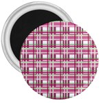 Pink plaid pattern 3  Magnets