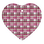 Pink plaid pattern Ornament (Heart)