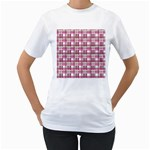 Pink plaid pattern Women s T-Shirt (White) (Two Sided)