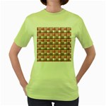 Pink plaid pattern Women s Green T-Shirt