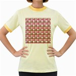 Pink plaid pattern Women s Fitted Ringer T-Shirts