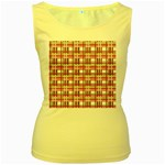 Pink plaid pattern Women s Yellow Tank Top