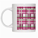 Pink plaid pattern White Mugs