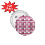 Pink plaid pattern 1.75  Buttons (100 pack)