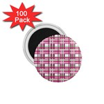 Pink plaid pattern 1.75  Magnets (100 pack)