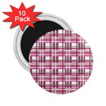 Pink plaid pattern 2.25  Magnets (10 pack)