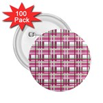 Pink plaid pattern 2.25  Buttons (100 pack)