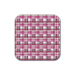 Pink plaid pattern Rubber Square Coaster (4 pack)