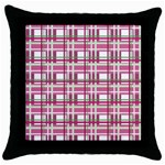 Pink plaid pattern Throw Pillow Case (Black)