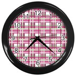 Pink plaid pattern Wall Clocks (Black)